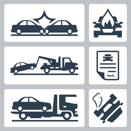 auto accident: Vector breakdown truck and car accident icons set