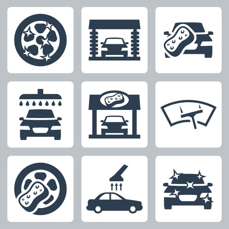 car garage: Vector car wash icons set