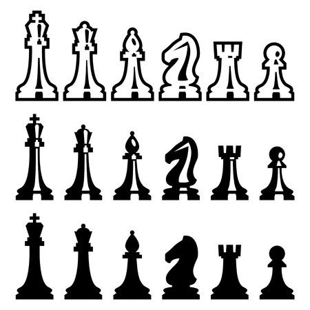 caballo de ajedrez: Vectoriales de ajedrez piezas iconos conjunto