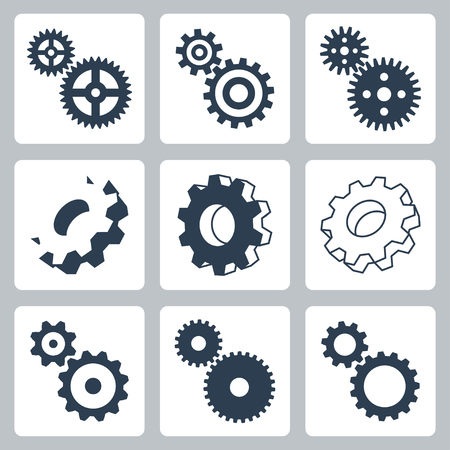 mechanical engineering: Vector gears, cogwheeels icons set