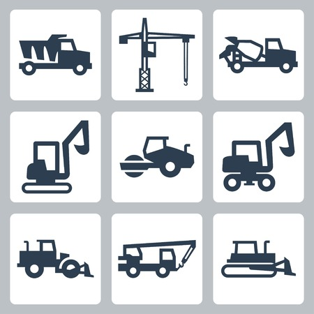 wheeled tractor: Vector construction equipment icons set