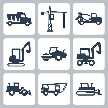 motor de carro: Vector de equipos de construcción conjunto de iconos Vectores