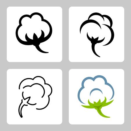 Vector cotton icons set Vector