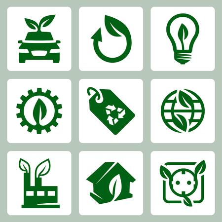 antipollution: Iconos de la ecolog�a del vector fijadas Vectores