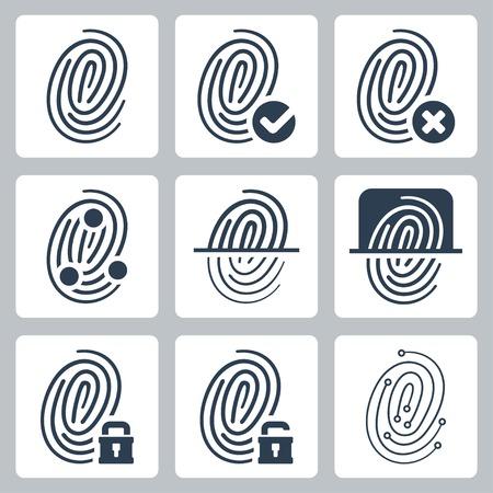 dactylogram: Vector fingerprint icons set Illustration