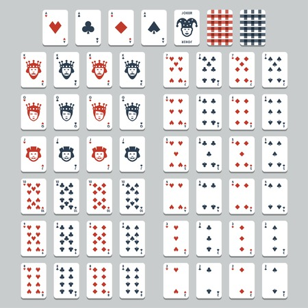 king and queen of hearts: playing cards, flat style