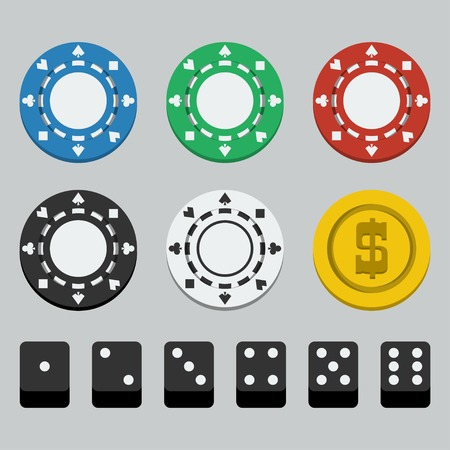 chips stack: Vector poker chips and dice, flat style Illustration