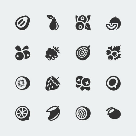 cranberry illustration: fruits and berries mini icons set Illustration