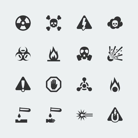 danger warning sign: Vector hazard and danger mini icons set