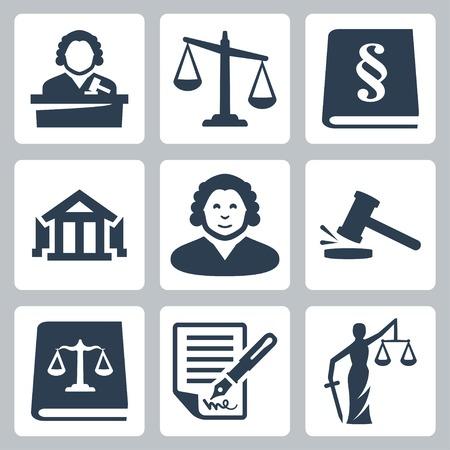 dama de la justicia: Policía y justicia iconos vectoriales