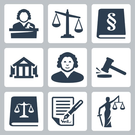 trials: Vector law and justice icons set Illustration