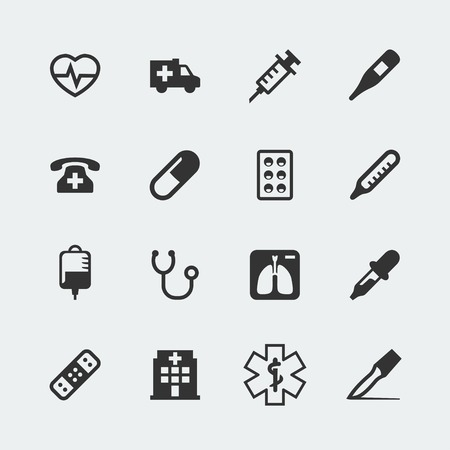 phone system: Vector madical mini icons set