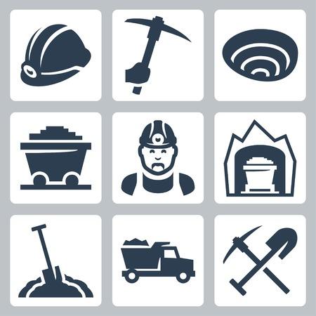 mijnbouw pictogrammen instellen Vector Illustratie
