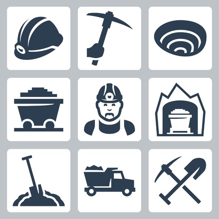 mining icons set Illustration