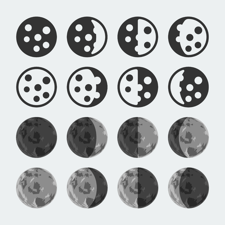 waxing gibbous: phases of the moon icons set