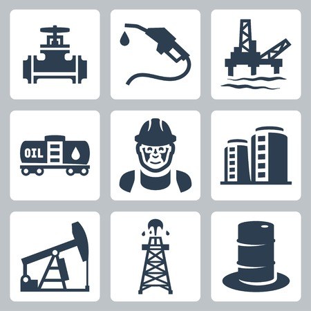 torre de perforacion petrolera: Iconos de la industria de petróleo del vector fijadas