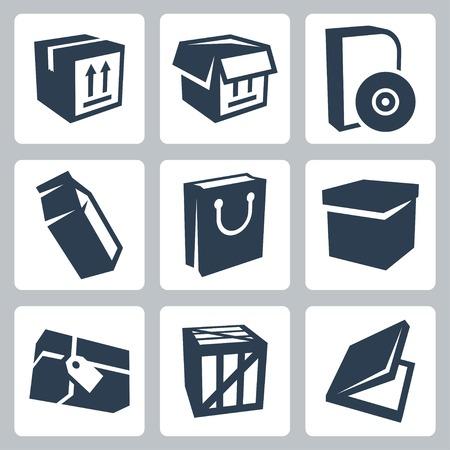 geïsoleerde pakket pictogrammen instellen