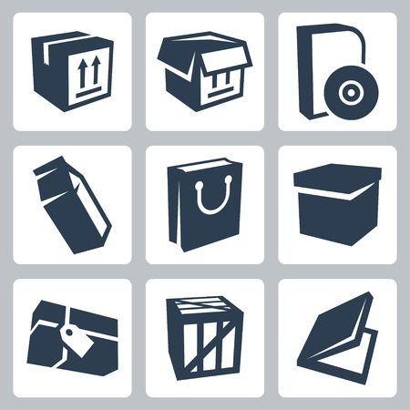 isolated package icons set