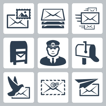 pillar box: post service icons set
