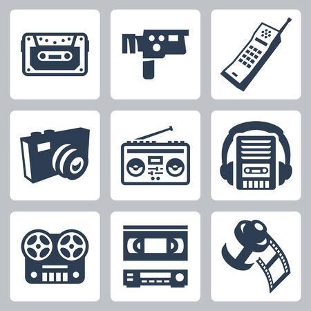 videocassette: Iconos de la tecnología Vector retro conjunto # 2