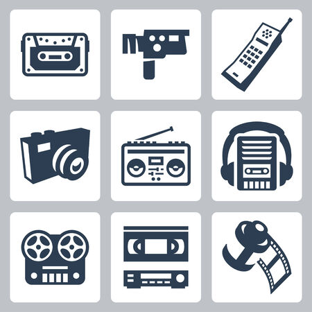 videocassette: Vector retro technology icons set #2 Illustration