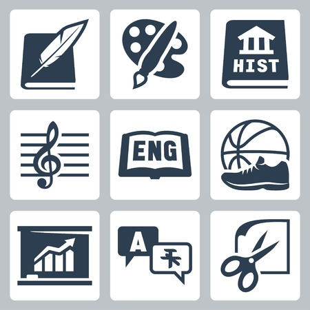 in english: school subjects icons set
