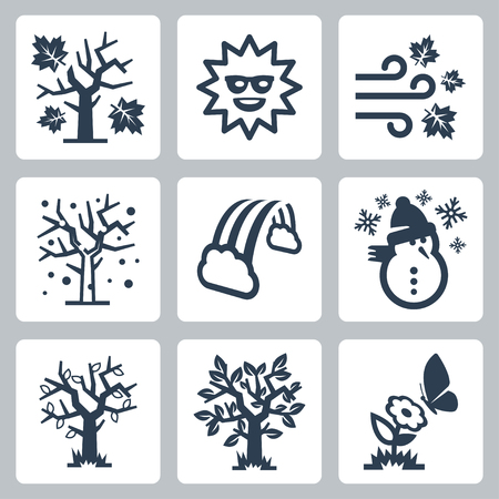 four seasons icons set Vector