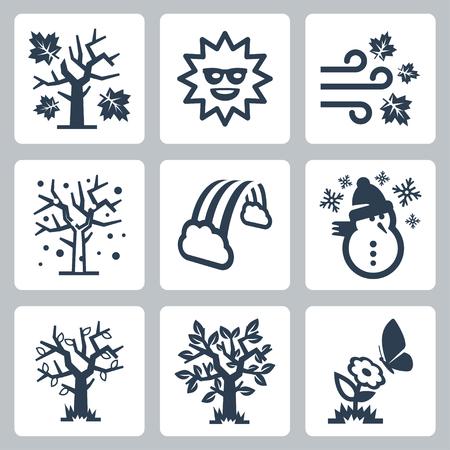 four seasons icons set Vector