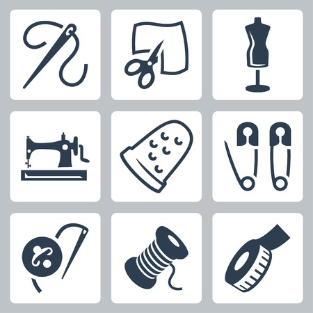 tailor and sewing icons set Vector