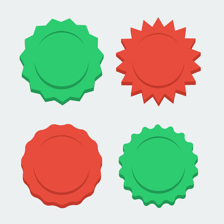 red and green sunbursts, flat style Vector