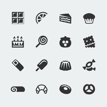 swiss roll: sweets mini icons set