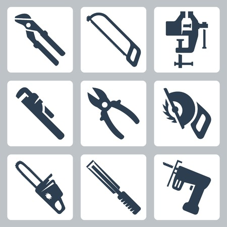 circ saw: Vector isolated tools icons set