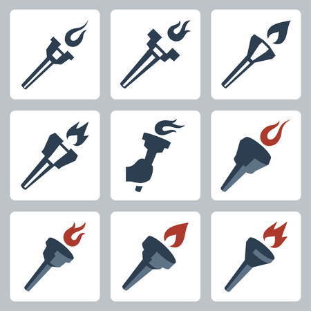 flambeau: Vector isolated torches icons set