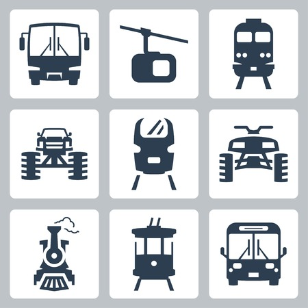 streetcar: transportation icons set