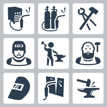 soldadura: soldador y herrero iconos conjunto