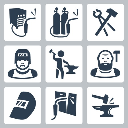 welder and blacksmith icons set Illustration