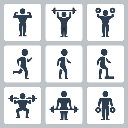 Vector workout, sport icons set Vector