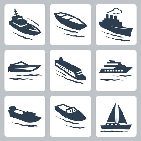 Vector Wasserfahrzeuge Symbole gesetzt Standard-Bild - 27425956