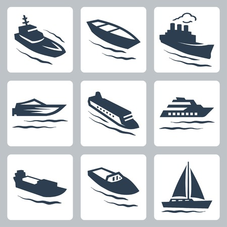 yacht isolated: Vector water crafts icons set