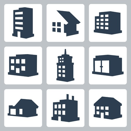 Vector isolated buildings icons set Illustration