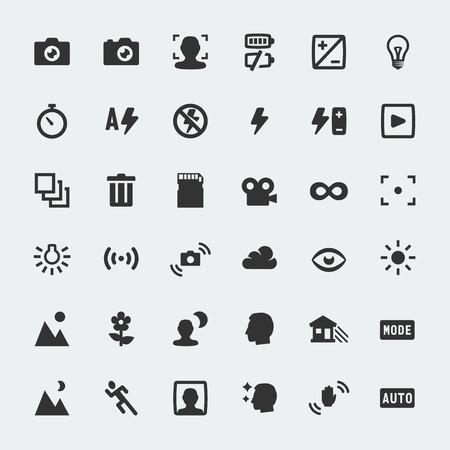 Funciones de la cámara Vector de mini iconos conjunto Ilustración de vector