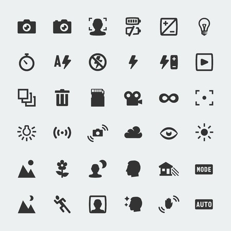 camera icon: Vector camera functions mini icons set
