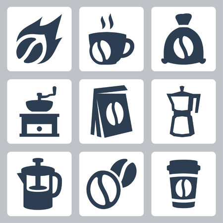 percolator: Vector isolated coffee icons set