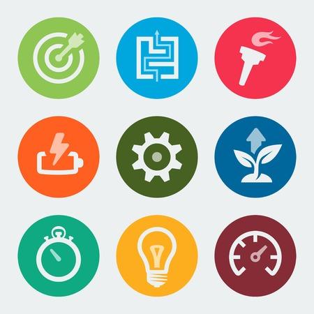 plan de accion: Vector iconos de desarrollo colorido establecen