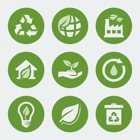 recycling plant: Vector ecology and recycling icons set Illustration