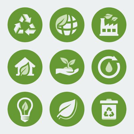 antipollution: Vector iconos de ecolog�a y reciclaje establecidos