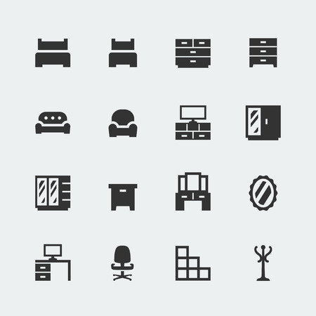 Vector home furniture mini icons set #1 Vector