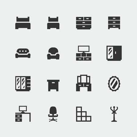 coat rack: Vector home furniture mini icons set #1 Illustration