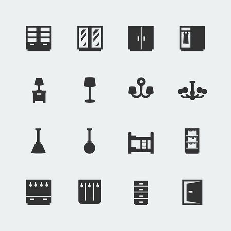 clothes rail: Vector home furniture mini icons set #2 Illustration