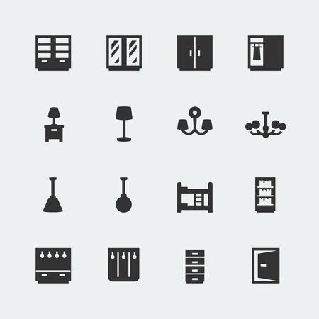 Vector home furniture mini icons set #2 Ilustracja